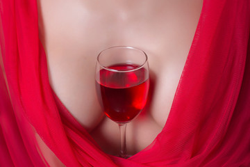sexy woman in red cloth and the vine glasses