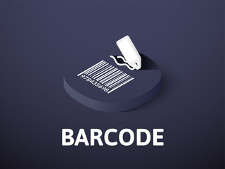 Barcode isometric icon, isolated on color background