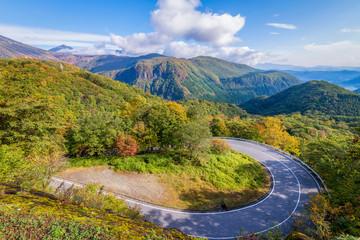 Irohazaka winding road during colorful autumn season at Oku-Nikko area, Nikko, Japan.