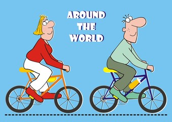around the world on the bicycle, funny postcard, vector illustration