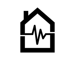 black heart rate house housing home residence residential real estate image vector icon