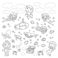 Underwater. Kids waterpark. Sea and ocean adventure. Summertime. Kids drawing. Doodle image. Cartoon creatures with children. Boys and girls swimming