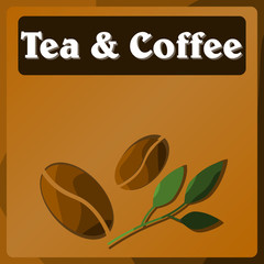 Vector image of a Table in the supermarket department with tea and coffee. Color pattern. Background. Stickers.