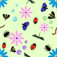 The pattern of insects in colors. Child illustration. Worms, butterflies, flies and so on