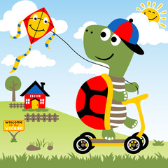 Playing kite with funny turtle