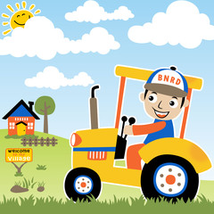 Young farmer on yellow tractor cartoon in farm field