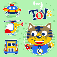 Little cat cartoon with toys