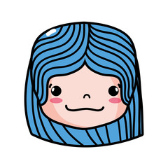 girl head with hairstyle and happy face