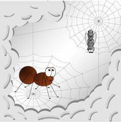 Vector image of a child illustration of a drawing of a spider and a fly in a web. Flat, gradient