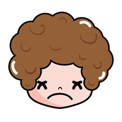 boy head with curly hair and sad face