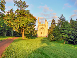 Peterhof. Gothic Chapel in Alexandria Park