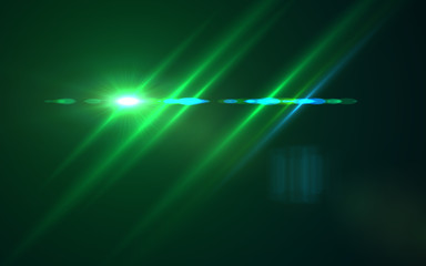 Abstract Design natural green lens flare and Rays background.Lens flare light over black background. easy to add overlay or screen filter over photos