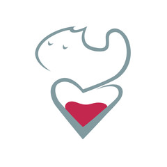 Cat and heart symbol, icon on white background. Conceptual symbol. Design element