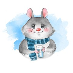 Cute cartoon mousel with coffee cup. Watercolor illustration 5