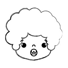 figure boy head with curly hair and surprised face