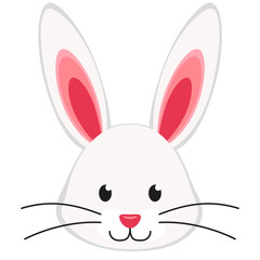 Cartoon rabbit bunny face icon poster.