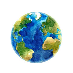 Watercolor Earth planet vector illustration