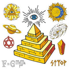 Vector mystic magic esoteric symbols piramide hand drawn religion philosophy spirituality magical occultism chemistry science illustration