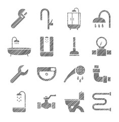 Plumbing and running water, icons, monochrome, pencil shading, vector. Plumbing tools and spare parts. One-color badges. Vector clip art.