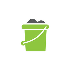 Sand bucket icon vector, filled flat sign, bicolor pictogram, green and gray colors. Symbol, logo illustration