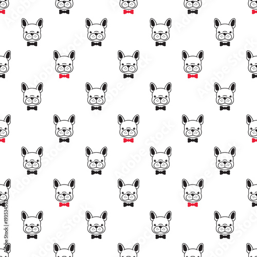 Dog Seamless French Bulldog Vector Pattern Isolated Bow Tie Wallpaper Background Doodle Black