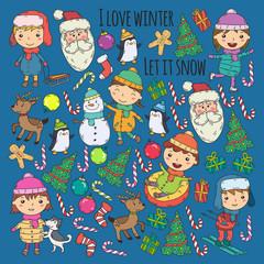 Children and winter games - ski, sledge, ice skating Christmas celebration. Kindergarten kids play and having fun. Santa claus, snowman, deer, penguin. Kids drawing vector doodle illustration.