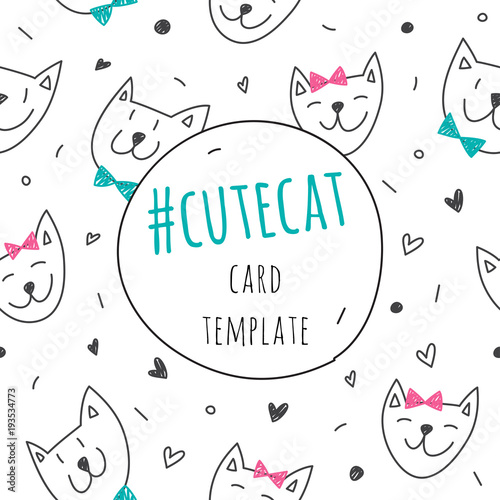 smile cute cat faces vector card template stock image and royalty