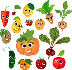 Big set of vegetables and fruits with smiling faces on white background