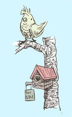 Vogelhuis met verkoopbord