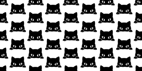 cat seamless pattern vector black cat isolated wallpaper background