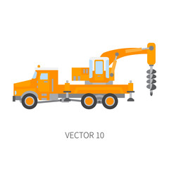 Color plain vector icon construction machinery truck boer, well. Industrial style. Corporate cargo delivery. Commercial transportation. Building. Business. Engineering. Diesel. Illustration for design