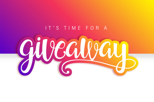 Giveaway Banner Card with Lettering. Colorful design.