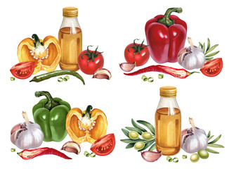 Watercolor illustrations of vegetables