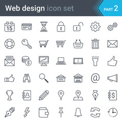 Web design, SEO and development thin line vector icon set isolated on white background