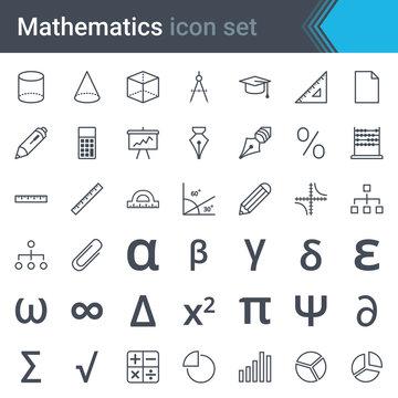 Mathematics line icon set - abacus, ruler, calculator, chart, pi, triangle, sinusoid