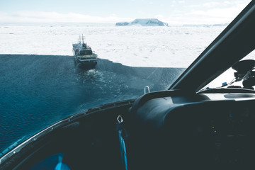 Aerial View of Expedition Vessel - Antarctica