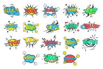 Comic bubbles with words and abbreviations sett, comic book explosion vector Illustrations on a white background