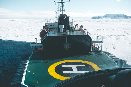 Approaching Expedition Vessel by Air - Antarctica