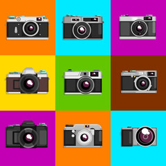 Camera sett, retro photo cameras on colored backgrounds vector Illustrations