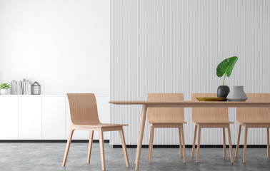 Minimal style dining room 3d rendering image.There are concrete floor,Decorate wall with white wood lattice and finished with wood furniture.