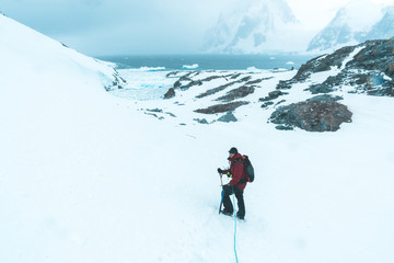 Mountaineer on the Glacier - Antarctica