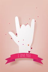 Hand making heart sign. Love, romantic relationship concept. Isolated vector illustration paper cut style. Love and valentine's day concept