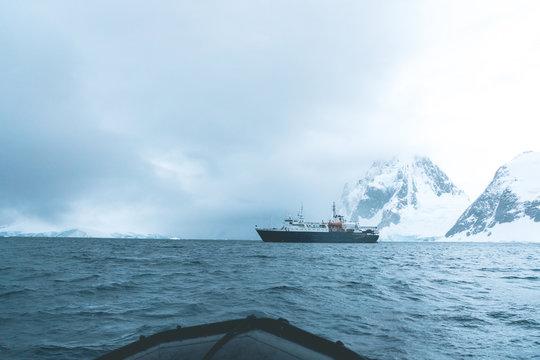 Expedition Vessel in the Polar Landscape - Antarctica