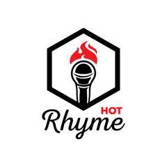hot rhyme logo with microphone on fire