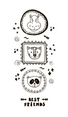 Funny card with cute face animals and lettering Best friends!