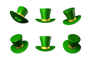Vector illustration for St. Patrick's Day - green hat with a gold ribbon cylinder
