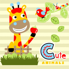 Safari animals cartoon on striped background