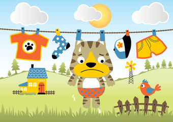 Funny animal cartoon on clothesline at summer