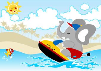 Funny elephant cartoon on speedboat