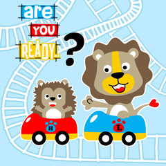 Playing roller coaster with funny animals cartoon